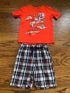 Jumping Beans Boys 2 Pc Orange Short Sleeve Plaid Shorts Outfit Size 6 VGUC