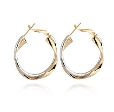 Rope Weave Hoop Earrings Earing Wedding Womens 2-Tone Gold Filled Round Twist