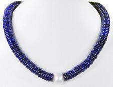 Collar BELLO de Piedra Preciosa Lapislázuli botón con perlas núcleo MOLUSCO