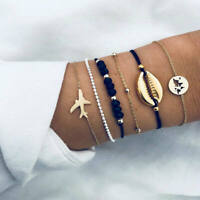 6Pcs Women Boho Airplane Shell Bangle Bracelet Chain Party Charm Jewelry Sets