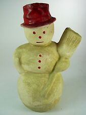 ANTIQUE Paper Mache SNOWMAN w BROOM Candy Container - Reading, PA Strickler & Co