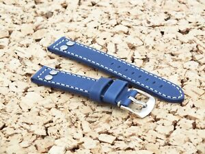 TZEVELION French Leather Buckskin Lined Riveted Aviator Watch Strap 18mm Blue
