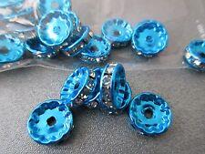 Blue Tone Rhinestone Roundel 12mm Spacer Beads 20pcs