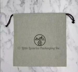 """BRAND NEW Authentic Hermes Herringbone Tweed Drawstring Dust Bag 12.25"""" x 12.5"""""""