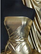 Gold On Black Metallic Foil Lamé Fabric Material Q325 GLBK