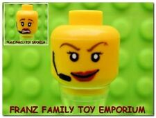 New LEGO Minifig Head Female Girl Red Lip Smile Scared Headset Agent Body Part