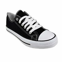 WOMENS GIRLS LADIES FLAT LACE UP PLIMSOLLS PUMPS CANVAS TRAINERS SHOES SIZE 3-8