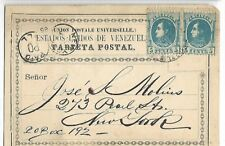 Venezuela: 1888; Postal Stationery, type 1, Gotic letters, to New York EBV045