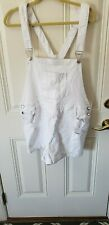 Almost Famous Womens Sz 20 Overall Distressed Adjustable Straps Shorts white