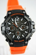 Casio MCW100H-4A Mens Analog Watch Heavy Duty Orange 100M WR Chronograph New