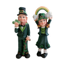 2 Irish Leprechaun Figurine Rainbow 4 Leaf Clover Saint Patricks Day Boy Girl