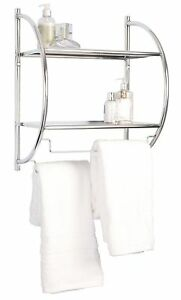 Wall Mounted Curved Double Shelf Chrome Towel Rack Holder Storage Rack Shelf New