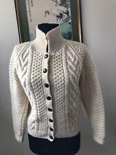 Inverallan Knitters Aran Scotland Fisherman Womens Short Cardigan Sweater S/M