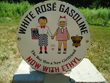 OLD VINTAGE 1929 WHITE ROSE GASOLINE WITH ETHYL PORCELAIN  GAS STATION PUMP SIGN