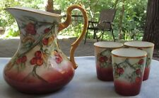 Hand Painted Pitcher and 3 Tumblers Cherries with Heavy Gold France