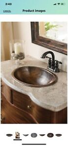 """Oval Black Copper Sink. 17""""-14""""-5"""".Brand: Thompson Traders"""