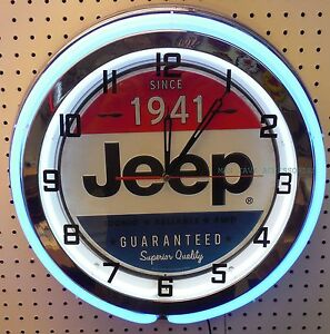 "19"" JEEP 4x4 Since 1941 Sign Double Neon Clock"