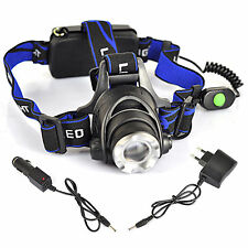 8000LM CREE XML T6 LED Adjustable 3-modes Headlamp Headlight Lamp+AC&Car Charger