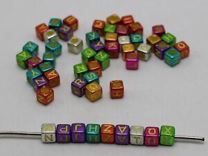 250 Mixed Metallic Color Acrylic Alphabet Letter Cube Pony Beads 6X6mm Kid Craft