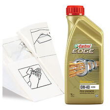 Engine Oil Top Up 1 LITRE Castrol EDGE 0w-40 FST A3/B4 1L +Gloves,Wipes,Funnel