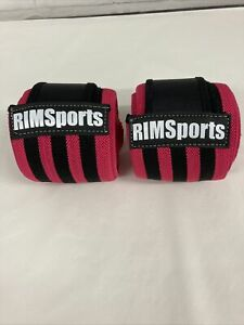 Pink And Black Knee Wraps For Power Lifting In Bag