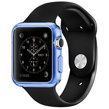 Coque Housse Pour Apple Watch 38mm Semi Rigide Gel Clear Frame Extra Fine Bleue