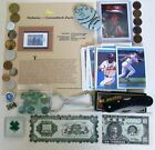 Junk+drawer+collectibles+-+coins%2C+duck+stamp%2C+baseball+cards%2C+coke+bottle+opener