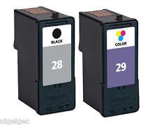 LEXMARK 18C1429E COLOUR INK NO 29 + 18C1428E BLACK INK CARTRIDGE 28 REFILLED