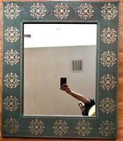 "Spanish Revival Irish Renaissance Mirror Wood Green Painted Wall Decor 36"" Irish"
