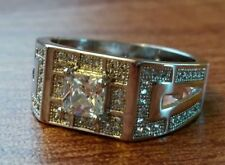 EXQUISITE .925 STERLING SILVER CUBIC ZIRCONIA RING Men sizes 8 / 9 / 10 / 11/ 12