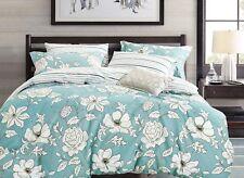 blue floral 100% cotton bedding set: duvet cover set or sheet set, all sizes