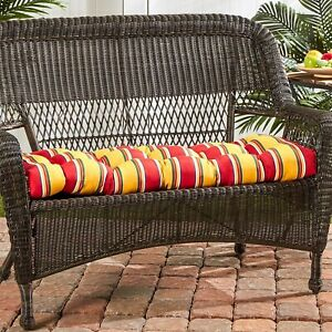 """Porch Swing Cushion Glider Bench Seat 44"""" Tufted Padded Patio Striped Red Yellow"""
