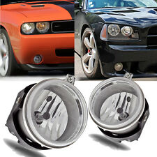 for 06-09 Dodge Charger/08-10 Challenger Clear Bumper Fog Light Lamps+Bulbs PAIR