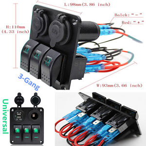1x3-Gang LED Rocker Switch Panel Circuit Breaker Dual USB RV Car Bus Marine Boat