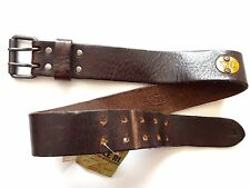 New Ralph Lauren RRL Italy Made Worn Dark Brown Leather Belt size 28