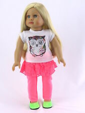"""Glitter Owl Pant Set Fits 18"""" American Girl Doll Clothes"""