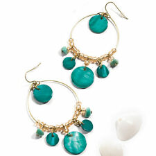 AVON Yolanda Shell Earrings Turquoise Green Statement Earrings Rare BNIB