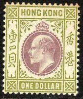 Hong Kong 1903 purple/sage-green 1$ crown CA mint SG72