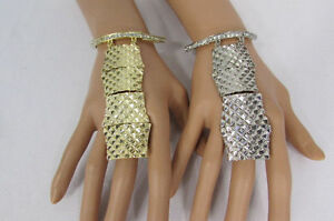 Women Bracelet Fashion Jewelry Metal Special Hand Chain Elastic Ring Silver Gold