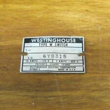WESTINGHOUSE Nameplate Tag Small Equipment Sign Type W Switch