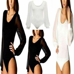 Womens Long Sleeve Chiffon Bodysuit Top Ladies Plain Body Top Leotard UK 8-14