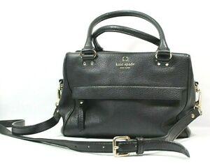 Kate Spade Black Pebble Leather Shoulder Crossbody Handbag Purse Gold accents