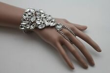 Women Silver Metal Hand Chain Slave Ring Wedding Classic Wrist Bracelest Bling