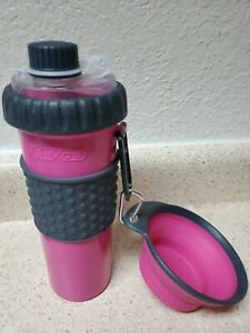 Pink Dual Chambered 16oz Dog Water Bottle & Snack Treat Container By Dexas