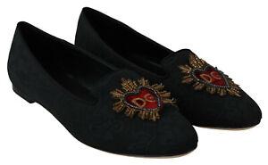 DOLCE & GABBANA Shoes Black Jacquard DG Heart Loafers Flats EU40 / US9.5
