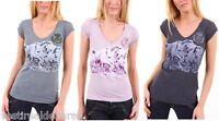 T-Shirt Donna Maglietta SUBLEVEL Maglia Maniche Corte A313 Rosa Grigio Tg L XL