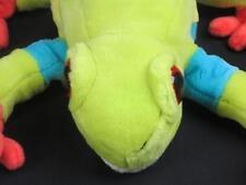 Rain Forest Neon Green Yellow Blue Frog Big Red Eyes Plush Stuffed Animal Toy