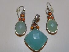 BEAUTIFUL BARSE STERLING SILVER NATURAL STONE EARRINGS & PENDANT LOT SET