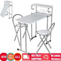 Folding Kitchen Dining Table Set +2 Chairs Storage Shelf Breakfast Bar Furniture
