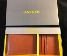 BNIB JAEGER Men's Tan Leather Wallet and Card Holder Gift Set RRP £90